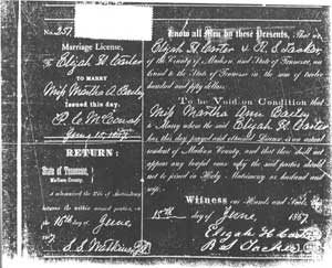 Elijah and Martha Carter marriage license